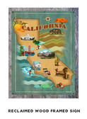 California Map Metal Sign