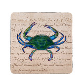 Male Blue Script Crab Coasters - Set of 4