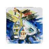 Three Row Boats Coasters - Set of 4