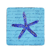 Blue Starfish Coasters - Set of 4