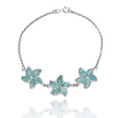 Sterling Silver Starfish with Larimar Chain Bracelet