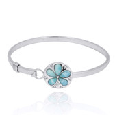 Sterling Silver Sand Dollar with Larimar and White CZ Bangle