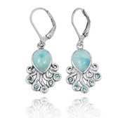 Sterling Silver Octopus with Larimar and Swiss Blue Topaz Lever Back Earrings