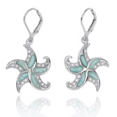 Starfish Lever Back Earrings with Larimar and White CZ