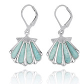Sterling Silver Shell with Larimar Lever Back Earrings