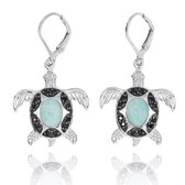 Sterling Silver Turtle with Larimar and Black Spinel Lever Back Earrings