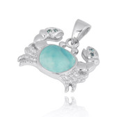Sterling Silver Crab Pendant with Larimar and London Blue Topaz