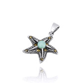 Sterling Silver Starfish Pendant with Marcasite and Round Larimar