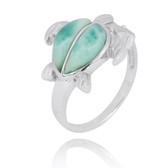 Sterling Silver Turtle Ring with 2 Larimar Stones