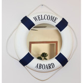 "Life Ring Mirror - Blue Trim ""Welcome Aboard"""