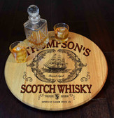 Barrel Head Lazy Susan -  Scotch Whiskey - Personalized