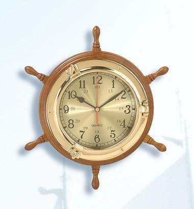 Nautical Ship Wheel with Porthole Clock