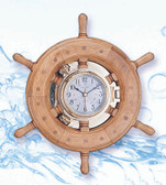 Nautical Ship Wheel Decor with Porthole Clock - Wide Rim