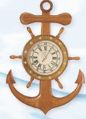 Anchor and Ship Wheel Nautical Wall Clock