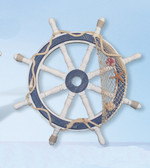 Nautical Ship Wheel - White Washed with Net 24""