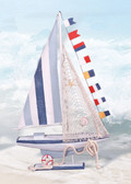 Colorful Wooden Sailboat 28""