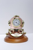 "Deluxe 3"" Brass Mark V Diver's Helmet Clock with Wooden Base"