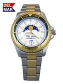 Del Mar Men's 200M Nautical Analog Tide Watch with White Dial - Two Tone