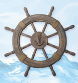 Nautical Ship Wheel Decor - Antique Finish 24""