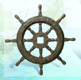 Nautical Ship Wheel Decor with Antique Finish 27""