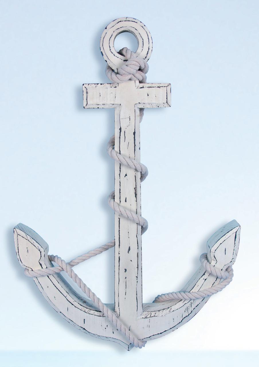 White Washed Antique Wooden Anchor Vintage Nautical Decor