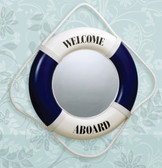 "Life Ring Mirror- Blue ""Welcome Aboard"""