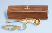Brass Bosun's Whistle with Wooden Box