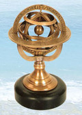 Brass Armillary Sphere with Stone Base