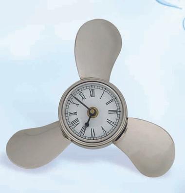 Brass Propeller Clock With Nickel Finish Nautical Beach