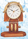 Premium Brass Ship Wheel Clock with Wooden Pulley Base