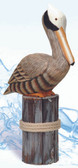 Decorative Brown Wooden Pelican on Post 19""
