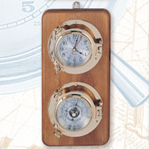 "Premium 5.5"" Porthole Clock and Barometer on Wooden Base, Lacquer Coated"