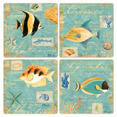 Colorful Fish Square Sandstone Coasters