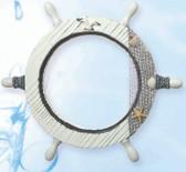 """Nautical Wheel Decor - White Washed 14"""""""