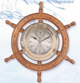 Deluxe Nautical Wheel Decor with Porthole Clock - 2 sizes available
