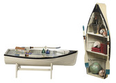 Nautical Dory Rowboat Coffee Table with Bookshelves