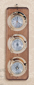 Premium Lacquer Coated Porthole Clock, Barometer and Thermometer on Wooden Base - 5.5""