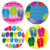 Colorful Flip Flops Round Sandstone Coasters