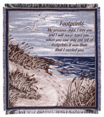"Decorative Nautical Beach Throw Blanket - ""Footprints in the Sand"""