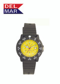 200 Meter Water Resistant Nautical Dive Watch Yellow Dial PU Sport Strap By Del Mar Watch Co, Ladies
