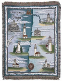 Decorative Nautical Beach Throw Blanket - Lighthouses of Oregon