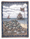 Decorative Nautical Beach Throw Blanket - Maryland Blue Crab