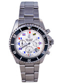 Del Mar White Nautical Flag Dial Chronograph Watch, Men's