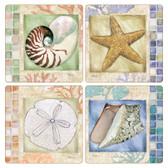 Mosaic Seashells Square Sandstone Coasters
