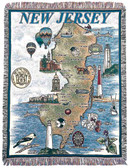Decorative Nautical Beach Throw Blanket - State of New Jersey