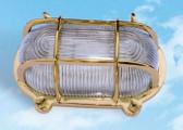 """Brass Oval Bulkhead Lamp Fixture 8"""" x 4.75"""""""