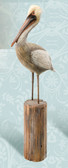 Decorative Hand Carved Wooden Pelican on Post - 24""