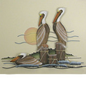 Pelican Trio Coastal Wall Sculpture