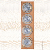 "Premium 5.5"" Porthole Clock, Barometer, Thermometer and Hygrometer on Wooden Base, Lacquer Coated"