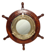 "17"" Porthole Mirror in 30"" Ship Wheel Decor"